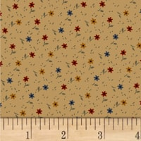 Pam Buda Primitive Threads Tossed Star Flowers Tan