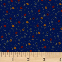 Pam Buda Primitive Threads Tossed Star Flowers Navy