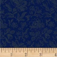 Pam Buda Primitive Threads Etched Tonal Flower Navy