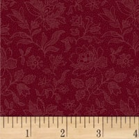 Pam Buda Primitive Threads Etched Tonal Flower Red