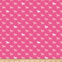 Riley Blake Designs  Derby Horses Jersey Knit Pink