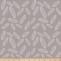 Riley Blake Jersey Knit Feathers Gray