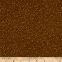 QT Fabrics A Golden Holiday Scroll Brown