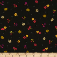 Andover/Makower UK Kimono Maple Leaves Metallic Black