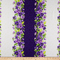 Maywood Studio Emma's Garden Pansy Stripe Purple/Cream