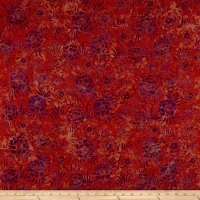Maywood Studio Mango Tango Batiks Fancy Flowers Orange Purple