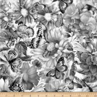 Fantasy Butterfly Floral Digital Grey