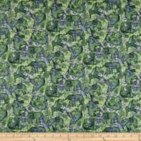Wilmington Bohemian Dreams Tossed Elephants Green/Purple