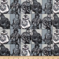 Star Wars Hero Squares Flannel Grey