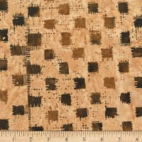 Anthology Fabrics  Art Inspired Batik Autumn Rhythym Batik Gingham Camel