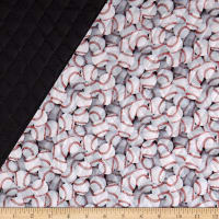 Paintbrush Studio Pre-Quilted Baseball White/Black/Red