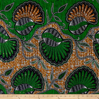 Supreme African Wax Print 6 Yards Broadcloth Green/Orange