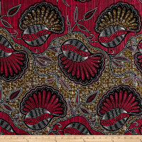 Supreme African Wax Print 6 Yards Broadcloth Red/Tan