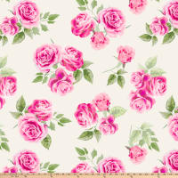 Pink Roses Double Brushed Fleece Ivory