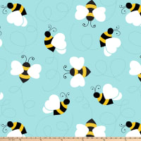 Bumble Bees Double Brushed Fleece Turquoise