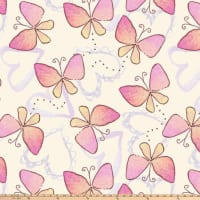 Regal Butterflies Double Brushed Fleece Cream