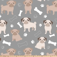 Oh My Pug-Ness 2 Double Brushed Fleece Grey