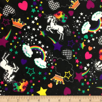 Pine Crest Fabrics Unicorn Rainbows Athletic Stretch Knit Black Multi