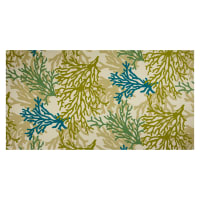 Trans-Pacific Textiles Coral Outdoor Dobby Barkcloth Cream/Green