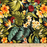 Trans-Pacific Textiles Hawaiian Rainforest Barkcloth Black