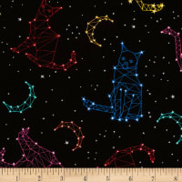 Timeless Treasures Jersey Knit Cat Constellations Black
