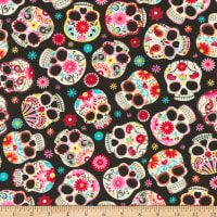Timeless Treasures Jersey Knit Sugar Skulls Black