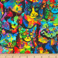 Timeless Treasures Jersey Knit Paint Splatter Cats Multi