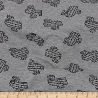 Telio Dakota Stretch Rayon Jersey Knit Print Cactus Grey Mix Black