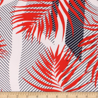 Telio Picasso Rayon Poplin Print Foliage Graphic Stripe Red