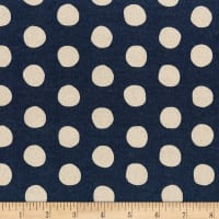 Kaufman Sevenberry Canvas Natural Dots Midnight