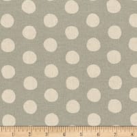 Kaufman Sevenberry Canvas Natural Dots Grey
