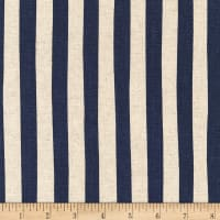 Kaufman Sevenberry Canvas Natural Stripe Navy