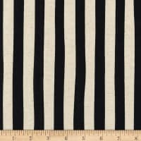 Kaufman Sevenberry Canvas Natural Stripe Black