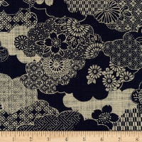 Kaufman Sevenberry: Nara Homespun Clouds and Flowers Indigo Kumo