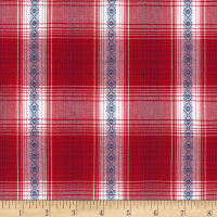 Kaufman Ponderosa Plaids Geometric Stripe Red