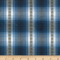 Kaufman Ponderosa Plaids Geometric Stripe Blue