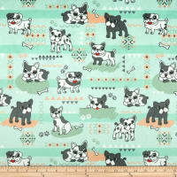 EZ Fabric Minky Pups Rule Pups Rule Sage