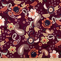 Double Brushed Poly Spandex Jersey Knit Retro Paisley Floral Wine