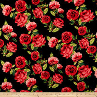 Double Brushed Poly Spandex Jersey Knit Roses Red on Black