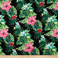 Double Brushed Poly Spandex Jersey Knit Tropical Floral Hot Pink/Red on Black