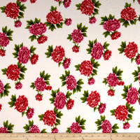 Liverpool Double Knit Carnations Cream/Red-Fuschia