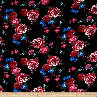 Liverpool Double Knit Tea Roses Navy/Fuschia