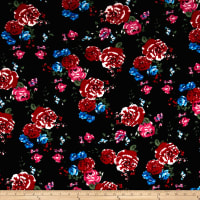 Liverpool Double Knit Tea Roses Black/Scarlet