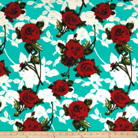 Liverpool Double Knit Flaminco Roses Mint