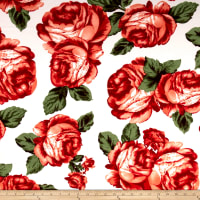 Liverpool Double Knit Large Roses Cream/Red