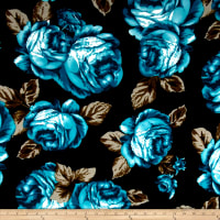 Liverpool Double Knit Large Roses Black/Jade