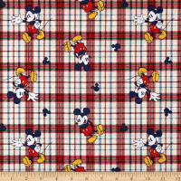 Disney Cotton Mickey On Woven Plaid Red