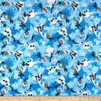 Disney Frozen Olaf Winter Snowflakes Scene Fleece Blue