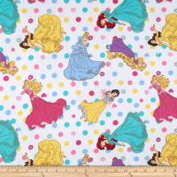 Disney Princess Flannel Princess Polka Dots White