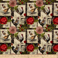 Springs Creative French Rooster Floral Patch Multi